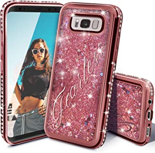 Galaxy S8 Case, Miss Arts Galaxy S8 Glitter Case, Girls Women Cute Flowing Liquid Holographic Holo Glitter Case with Luxury Bling Diamond Bumper for Samsung Galaxy S8 -Rose Gold