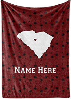 State Pride Series South Carolina - Personalized Custom Fleece Throw Blankets with Your Family Name - Columbia Edition