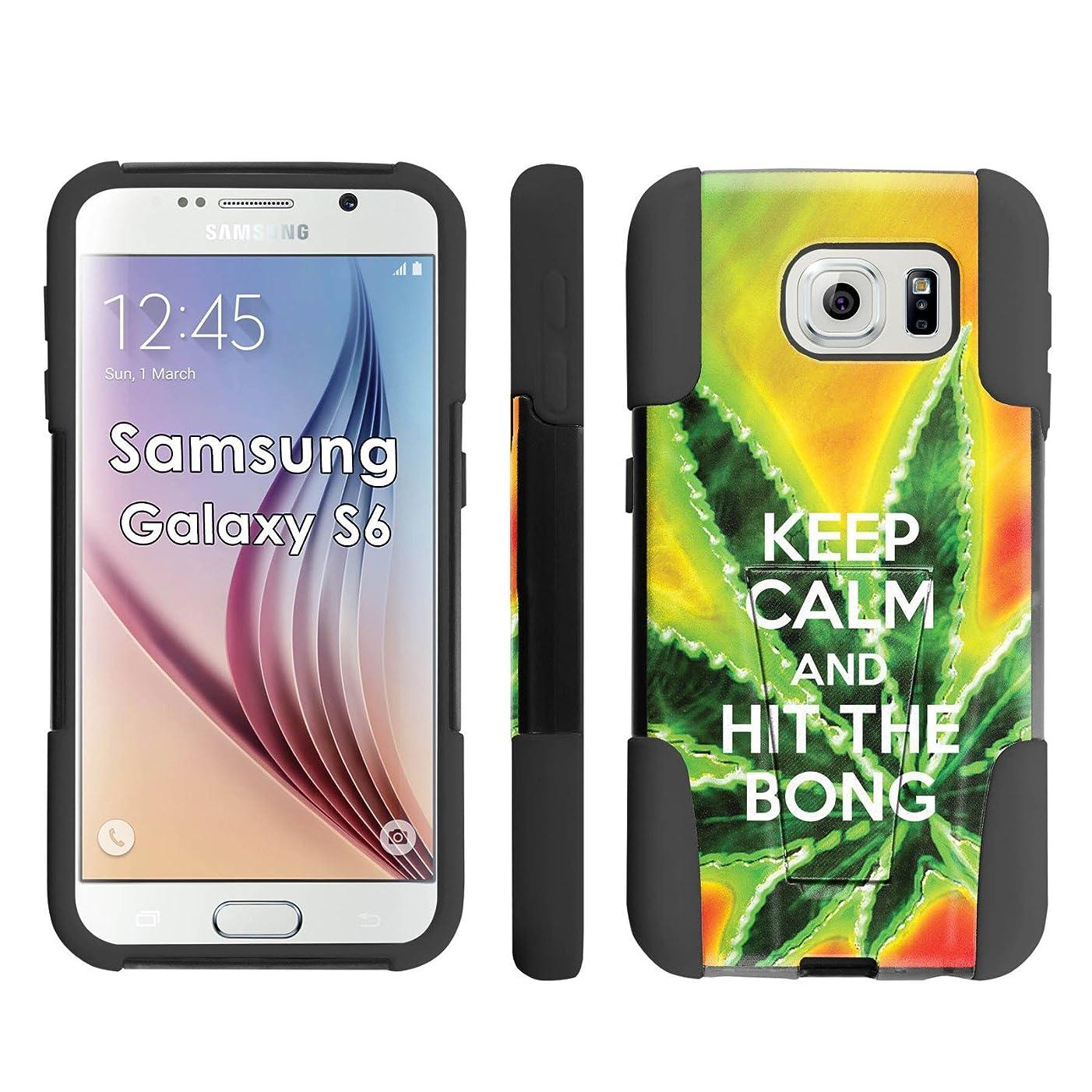 Samsung Galaxy S6 Phone Cover, Keep Calm Hit the Bong - Black Armor Kick Flip Grip Phone Case for Samsung Galaxy S6