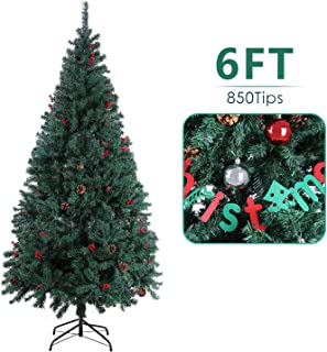 SNAN Christmas Pine Tree, Artificial Premium Xmas Tree, Solid Metal Stand, Lush Pine Needle & Hanging Ornament, Festival Holiday Decoration for Home, Office, Indoor, Outdoor (6FT)