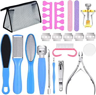 17 Pieces Pedicure Tools Set Stainless Steel Foot Rasp Foot Peel Callus Clean Feet Dead Skin Tool Set Nail Toenail Clipper Foot Care Kit for Home Removing Hard, Cracked, Dead Skin Cells