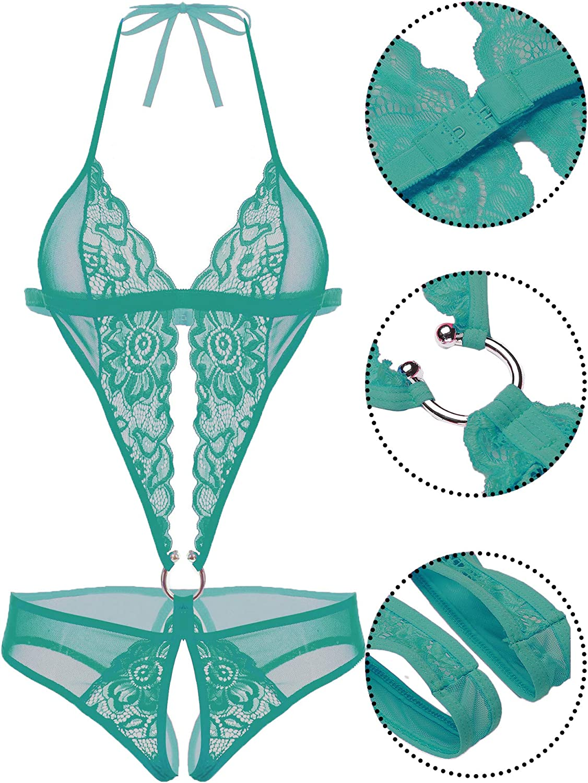 Avidlove Women Deep V Lingerie Lace Teddy One Piece Babydoll Mini Bodysuit