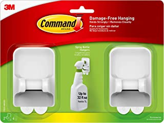 Command Spray Bottle Hangers, White, Holds up to 32 fl oz., 2-Hangers, 4-Strips, Organize Damage-Free