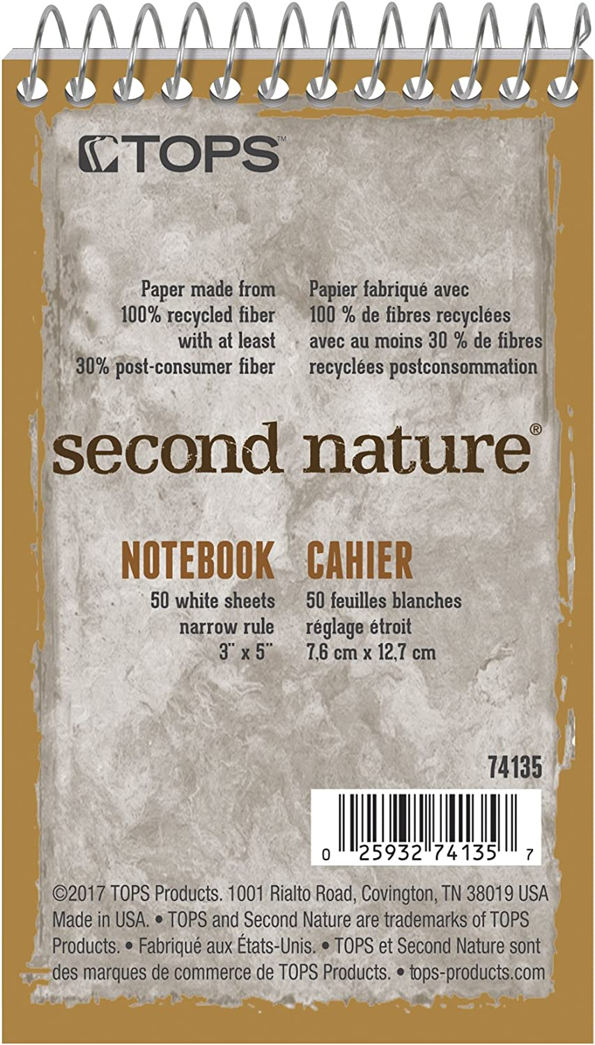 TOPS Second Nature Notebook Ranking TOP1 3 x Narrow Recycled OFFicial site Ruled Inch 5