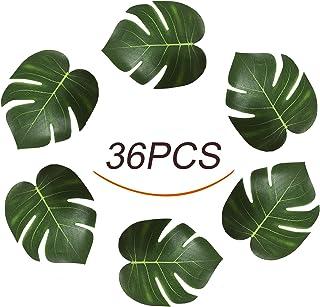 "Jesries 8"" Tropical Palm Leaves Simulation Imitation Leaf for Hawaiian Luau Party Jungle Beach Theme Decorations (8 inches-36PCS)"