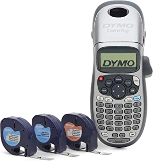 DYMO Label Maker with 3 Bonus Labeling Tapes   LetraTag 100H Handheld Label Maker & LT Label Tapes, Easy-to-Use, Great for Home & Office Organization
