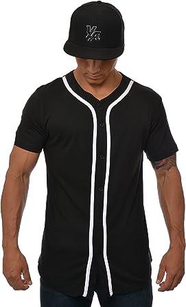 Amazon.com : YoungLA Baseball Jersey Men Button Down Cotton 304 ...