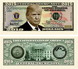 American Art Classics Pack of 10 - Donald Trump 2019 Presidential Dollar Bill - Limited Edition Novelty Dollar Bill