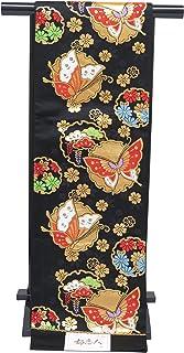 袋帯 正絹 新品 七五三 十三参りに 子供用 全通柄の袋帯「黒 雪輪に蝶」JFS492