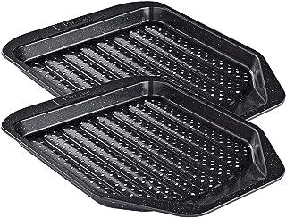 Prestige Set of 2 Stone Quartz Non-Stick Chip Crisp Crisper Oven Baking Tray 14.8 x 11.5