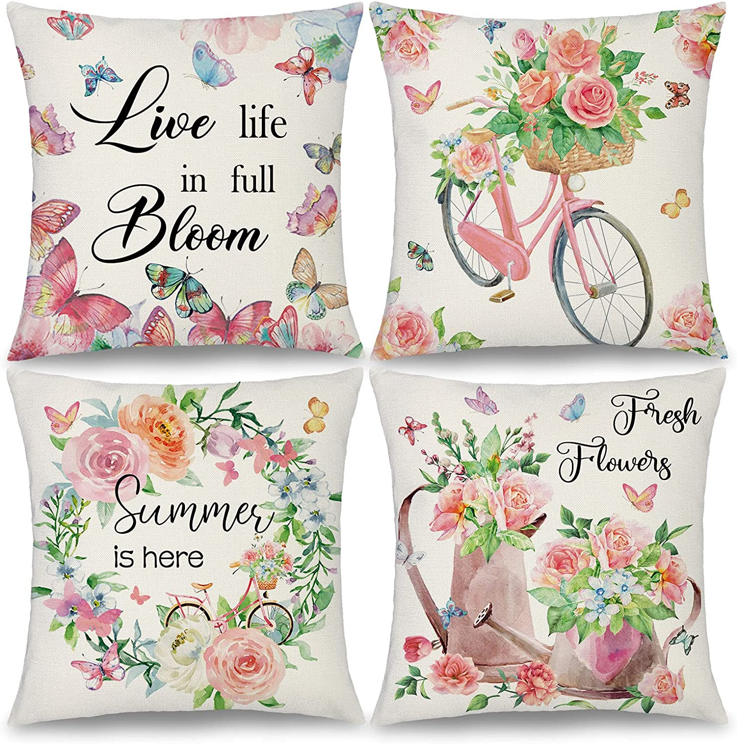 Binfemcy Farmhouse Square Al sold out. Pillow Cover Wreat Flower 18x18 Summer Max 64% OFF