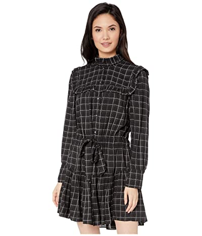 La Vie Rebecca Taylor Long Sleeve Plaid Ruffle Dress (Black Combo) Women