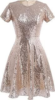Women Sequin Bridesmaid Dress Short Sleeve Skater Cocktail Club Dresses