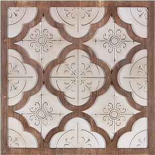 Patton Wall Decor 32 Inch Antique White Metal and Wood Quatrefoil Medallion Framed Art Wall Decor,