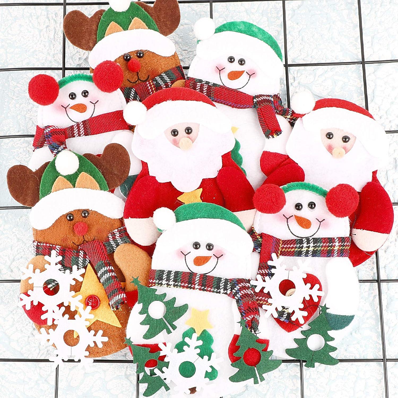 8 St/ück Wein Trinken Marker Weihnachtsbaum Schneeflocke Label f/ür Weihnachsparty Home Tischdeko UFLF 8 St/ück Weihnachten Besteckhalter Bestecktasche Filz Besteckbeutel