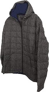 Men's Glen Plaid/Houndstooth Wool Hooded Puffer Jacket Winter Coat Black/White W/Blue Interior