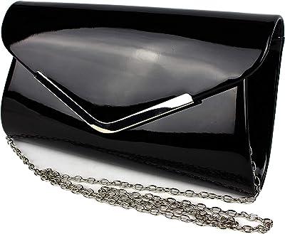 Schompi Vintage Damen Lack-Tasche Abendtasche Clutch Bag mit abnehmbarer Schulterkette Kettentasche