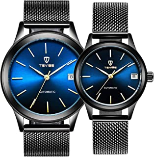 Couple Watches Automatic Mechanical Gold Stainless Steel Mesh Strap Watches Men & Women Gift Set of