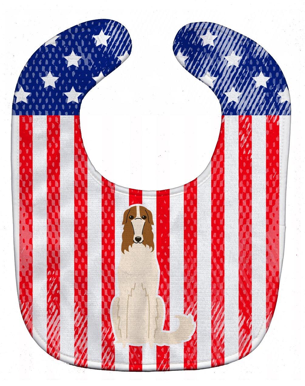 Caroline's Treasures BB3018BIB Patriotic USA Borzoi Baby Bib, 10 x 13