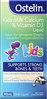 Ostelin Kids Milk Calcium and Vitamin D3 Liquid, Helps Develop Strong Bones, Made From Real Cow's Milk, 90 milliliters