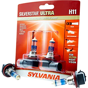 SYLVANIA H11 SilverStar Ultra High Performance Halogen Headlight Bulb, (Contains 2 Bulbs), White (H11SU.BP2)