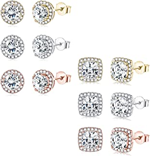 Udalyn 6 pares de pendientes de tuerca con halo para mujer, chapados en oro blanco de 18 quilates, chapados en oro rosa, r...