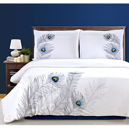 SUPERIOR Peacock Embroidered Duvet Cover Set, Long-Staple Cotton, King/Cal King, Silver