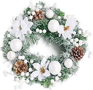 NIKKY HOME Christmas Wreath with Pine Cones and White Flower Snow Balls Snowflakes Garlands - 18 inch