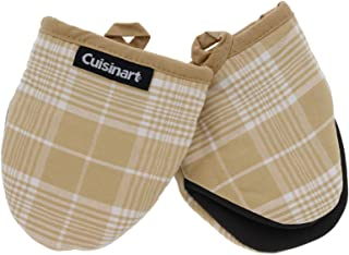 Cuisinart Neoprene Mini Oven Mitts, 2pk - Heat Resistant Oven Gloves Protect Hands and Surfaces with Non-Slip Grip and Hanging Loop-Ideal Set for Handling Hot Cookware, Bakeware- Glen Plaid, Tan
