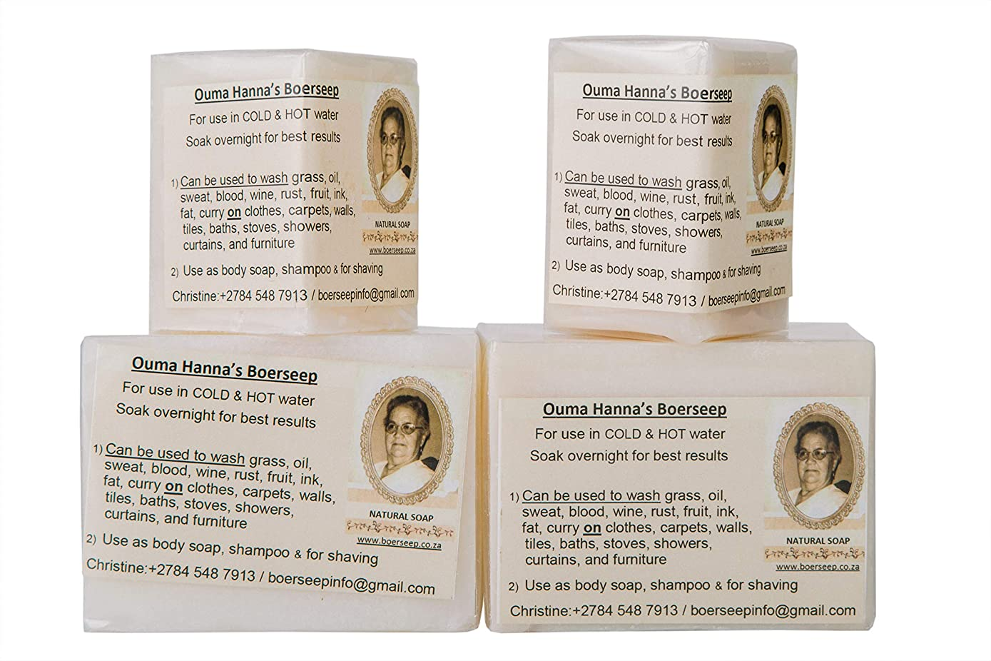 Ouma Hanna's 4 Pack Lye Soap Eco fresh Naturals Tallow Z-Bar Soap. Invincible Cleaner, Feels Naphtha and Octagon Soap