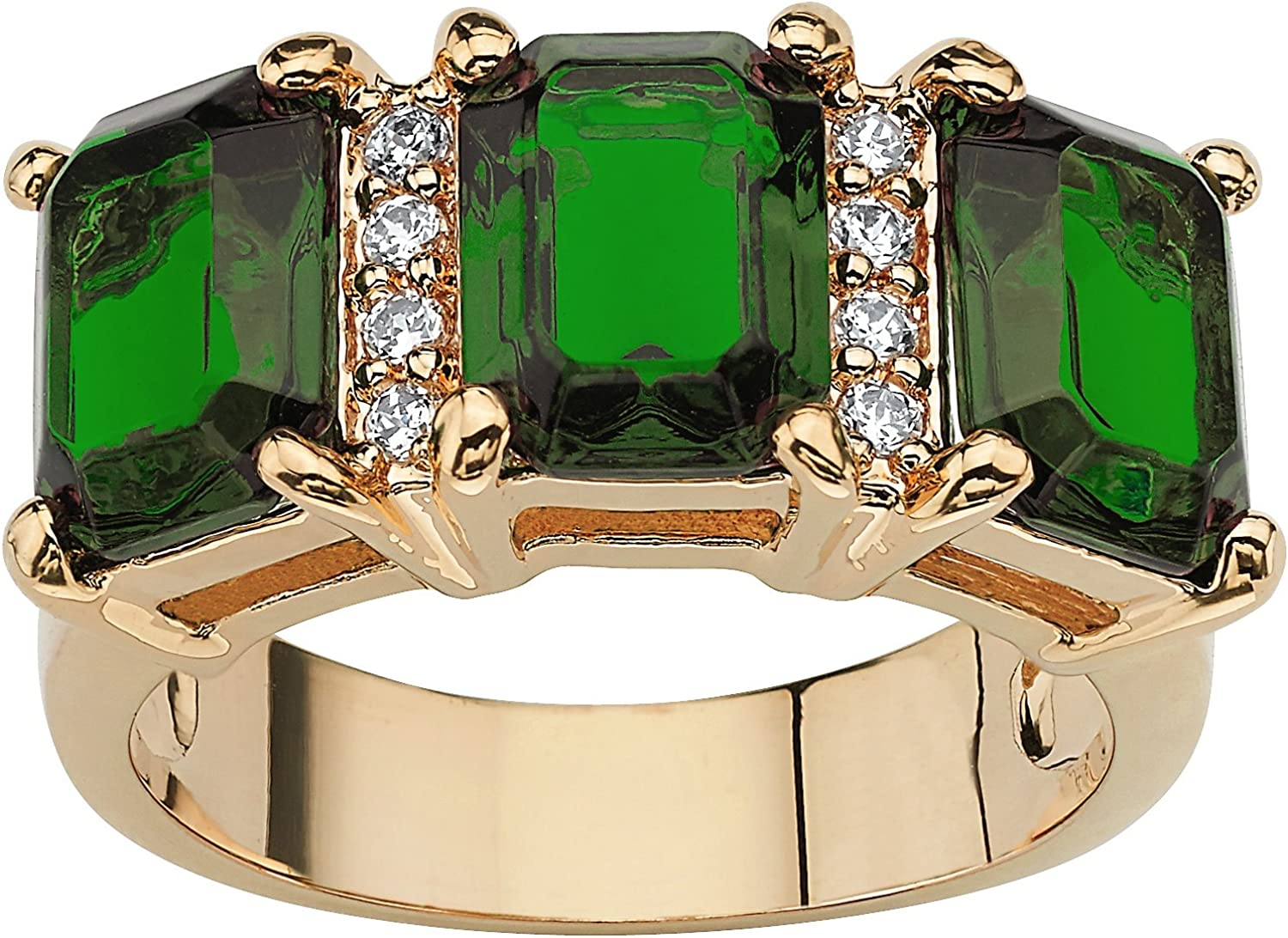 Palm Beach Jewelry Gold-Plated Emerald Cut Simulated Birthstone and Round Cubic Zirconia 3 Stone Ring