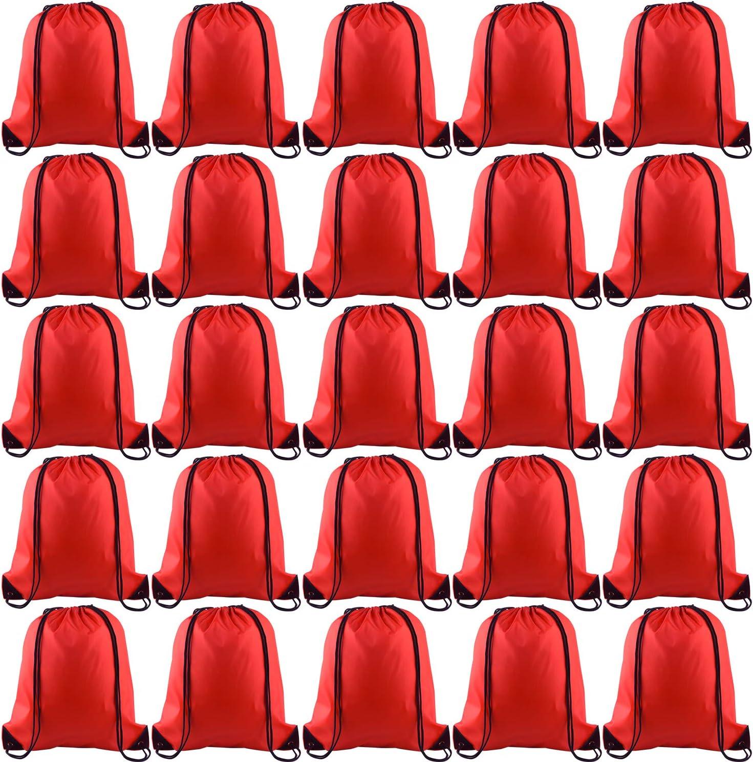 KUUQA 25Pcs Drawstring Backpack Bags String Backpack Sport Bag Sack Cinch Gym Backpack Bulk for Gym Sport Traveling,Red
