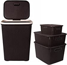 Regalo Laundry Basket with lid and 3 Pc Storage Baskets with Lid Combo, Dark Brown