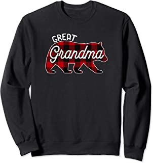 Great Grandma Bear Sweatshirt Red Buffalo Plaid Family