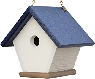 HomePro Garden Recycled Plastic Wren House: Hanging Bird House Handmade from Eco Friendly Materials (Navy/Wood)