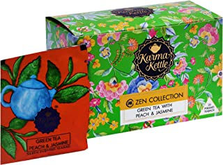 Karma Kettle Zen Collection Green Tea with Peach and Jasmine, Natural Detox, Aromatherapy Tea, Healthy Skin, Rich in Antioxidants, Metabolism Boosting Tea, 20 Pyramid Teabags
