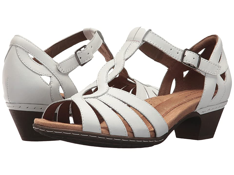 Rockport Cobb Hill Collection Cobb Hill Abbott Curvy T-Strap (White Leather) Women
