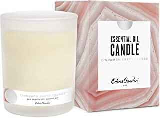Edens Garden Cinnamon Sweet Orange Coconut Wax Candle, All Natural & Made With Essential Oils (Hand-Poured in USA, Non-Toxic, Paraffin-Free, Luxury Gift Box) 40 Hour Burn, 6 oz