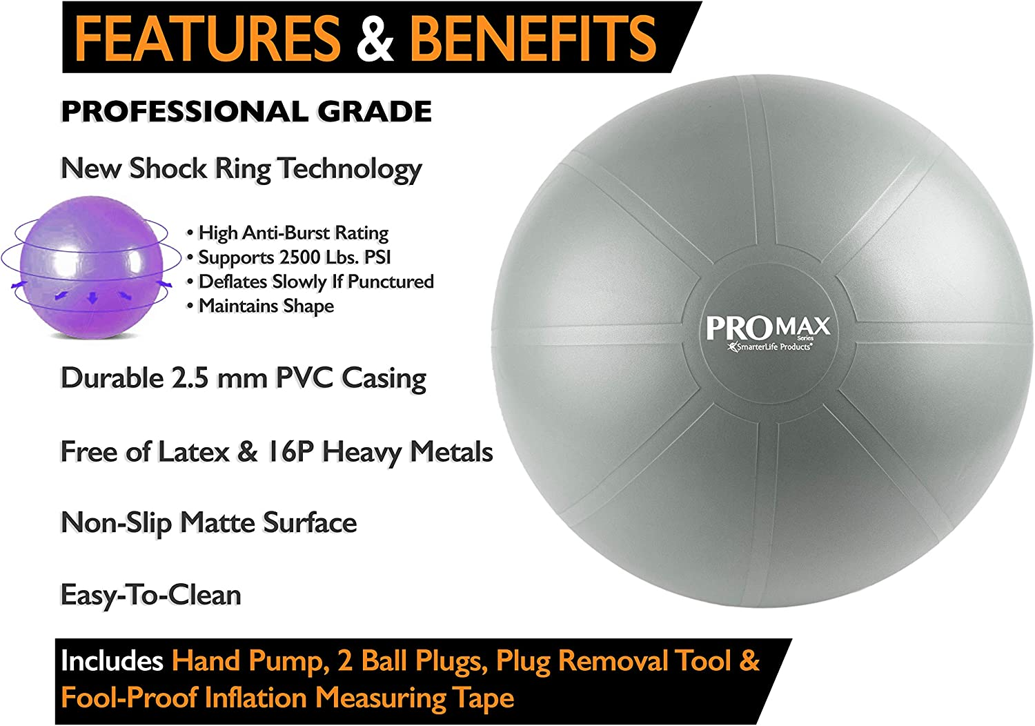 Pilates Birthing Office Ball Chair PRO MAX Exercise Ball by SmarterLife Fitness Stability Therapy Professional Grade Extra Thick Yoga Ball for Balance Flexible Seating