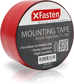 XFasten Extreme Double-Sided Acrylic Mounting Tape Removable, Gray, 2-inch x 300-Inch, Waterproof Indoor and Exterior Doub...