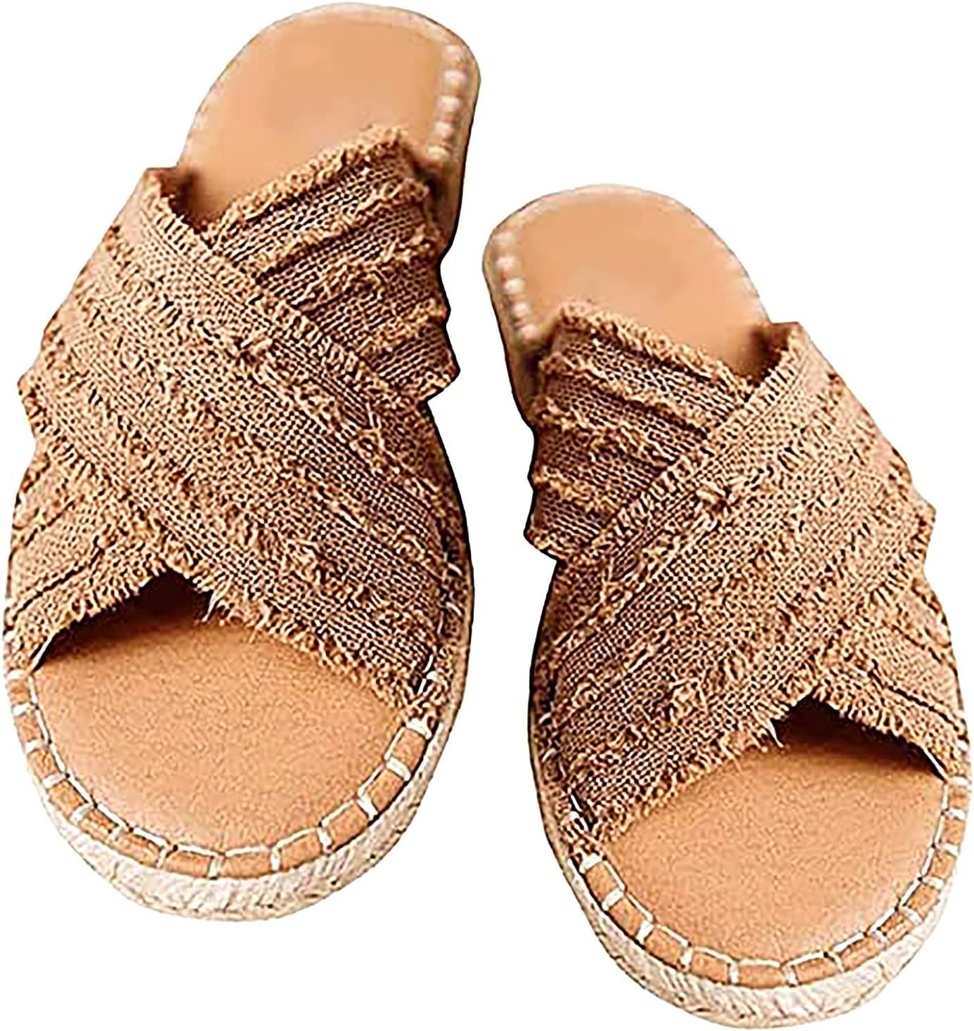 Cleo Espadrille Slides, 2021 Flat-Bottomed Straw Cross Fisherman Shoes Bohemian Outer Wear Sandals and Slippers, Womens Flat Slide Sandals Open Toe Espadrille Non-Slip Espadrille Beach Sandals