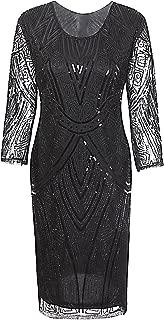 Vijiv Women 1920s Gastby Beaded Sequin 3/4 Sleeve Art Deco Embellished Flapper Dress