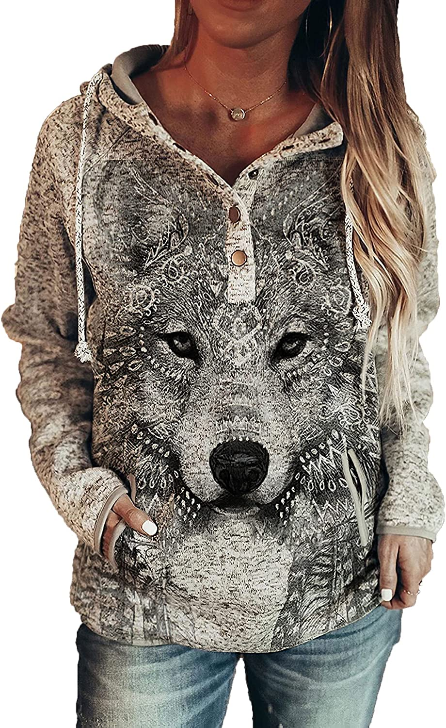 Akivide Wolf Hoodies for Women Aztec Animal Print Casual Button Drawstring Hooded Sweatshirt with Pockets