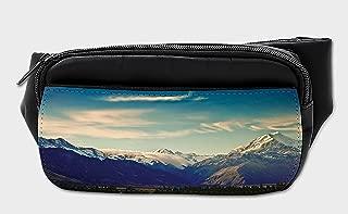 Lunarable Nature Bumbag, New Zealand Mountain Peaks, Fanny Pack Hip Waist Bag