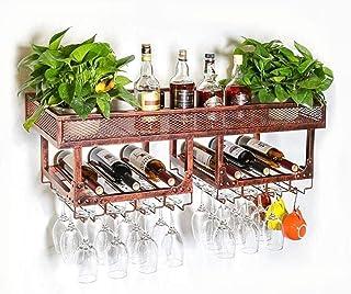HZWLF Casier à vin Porte-Verre à vin Bar Suspendu européen Porte-gobelet en Fer forgé créatif à l'envers Double Porte-gobe...
