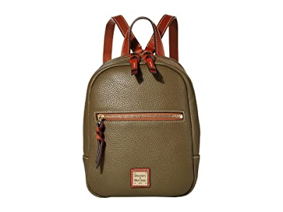 Dooney & Bourke Pebble Small Ronnie Backpack (Olive/Tan Trim) Backpack Bags