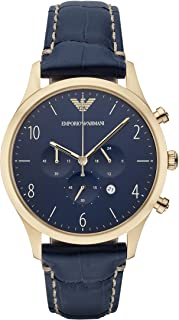 Emporio Armani Men's Ar1862 Sport Blue Leather Watch, Analog Display