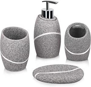 Bathroom Accessory Set,4 Pieces Bathroom Decor Accessories Complete Set Vanity Countertop Accessory Set,Includes Bathroom Soap Dispenser Set,Toothbrush Holder Set,Tumbler,Soap Dish,Grey Granite