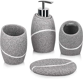 Bathroom Accessory Set,4 Pieces Bathroom Accessories Complete Set Vanity Countertop Accessory Set with Marble Look,Include...