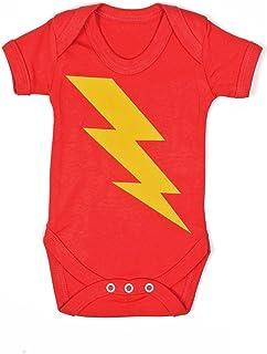 28d4260699c4d SUPERHERO Baby Grow for Boys or Girls | Lightning Bolt Flash Baby Vest /1  Neutral
